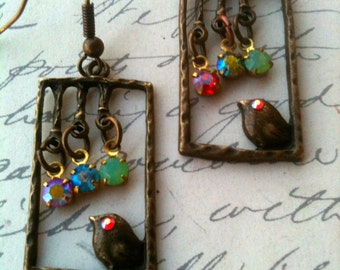Jewelry Earrings Dangle Bird Authentic Vintage Inspired Swarovski Crystal Charm