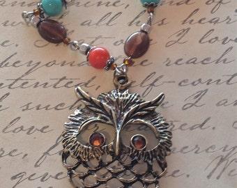 Owl Necklace Antique Bronze Owl Pendant Necklace.