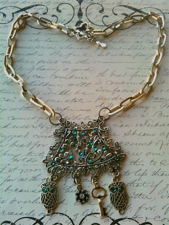 Jewelry Necklace Metal Victorian Steampunk Romantic Inspired Metal Swarovski Crystal