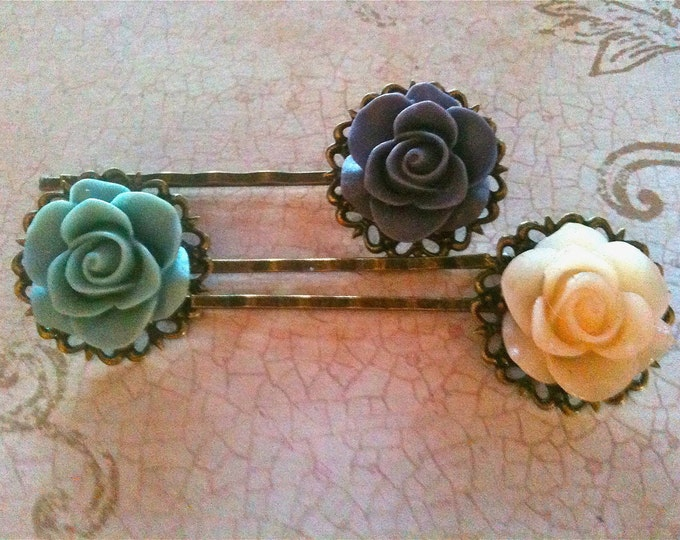 Vintage Inspired Rose Cabochon Hair Pins