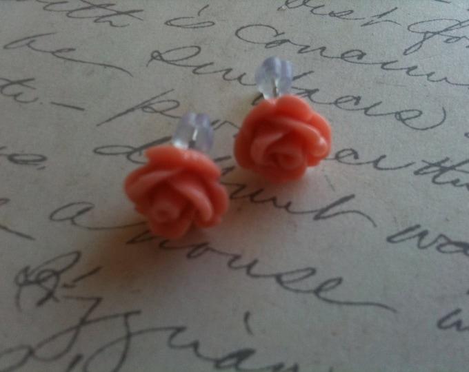 Jewelry Earrings Peach Flower Cabochon Womens vintage inspired Post Earrings