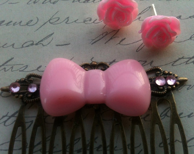 Jewelry Earrings Pink Rose Cabochon Post Earrings and Pink Bow Hair Comb