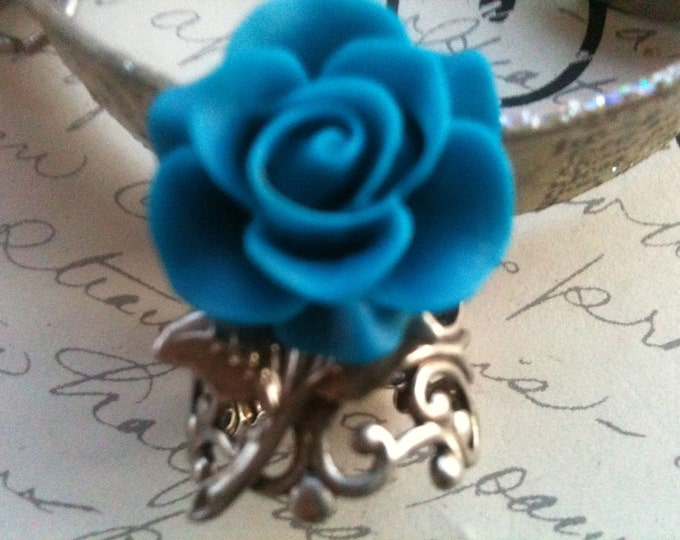 Jewelry Ring Vintage Steampunk Victorian Romantic Inspired Blue Rose Resin Cabochon very high quality