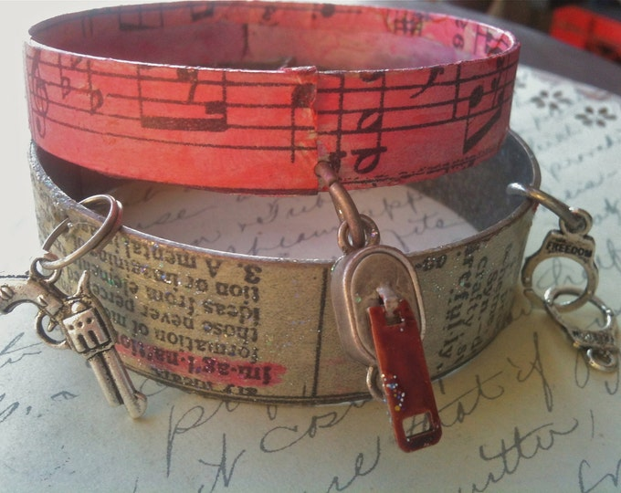 Jewelry Bracelet Metal Industrial Dictionary Print with Charms Cuff Bracelets