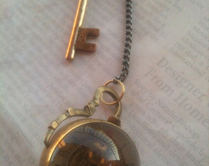 Jewelry Necklace Victorian Steampunk Round Pocketwatch Necklace Romantic Inspired Rare See Through