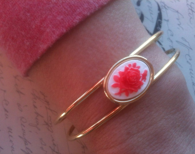 Jewelry Bracelet Adjustable White and Coral Flower Cameo Gold Bangle Cuff Bracelet Vintage and Steampunk Inspired