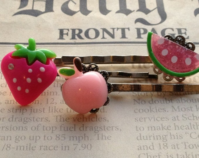 Accessories Hair Bobby Pins Crystal Flower and Candy Apple Cabochon Hair Pins