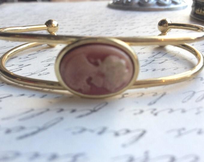 Cameo Bracelet Jewelry Adjustable Brown Lady Cameo Bangle Cuff