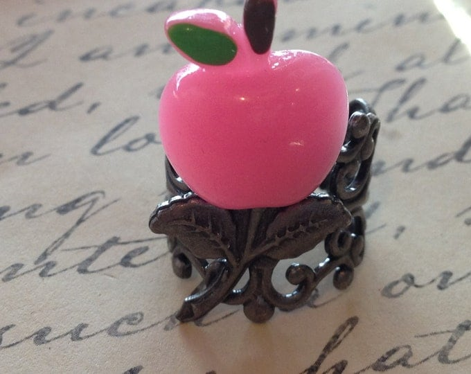Pink Apple Cabochon Ring with a Filigree Setting Adjustable