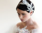 Bridal Side Tiara with beaded lilies and feathers