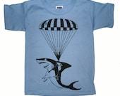 Shark Paratrooper Hot Air Balloon T Shirt - American Apparel Childrens Tshirt - Sizes 4 6 8 10 12 (Color Options)