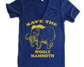 Unisex Save The Wooly Mammoth Deep V Neck T Shirt - American Apparel Vneck Tshirt - XS S M L (15 Color Options)