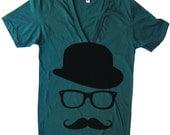 Unisex Mustache Hat Wayfarer Deep V Neck T Shirt - American Apparel Vneck Tshirt - XS S M L XL (15 Color Options)
