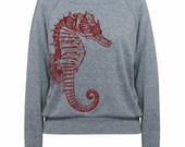 Womens Seahorse wide neck Tri-Blend Raglan Pullover - American Apparel - S M L (8 Color Options)