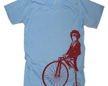 Monkey on a Bike T Shirt - American Apparel Tshirt - XS S M L Xl 2Xl (15 Color Options)