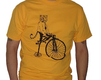 Tiger On Penny Farthing Bike T Shirt - American Apparel Tshirt - XS S M L Xl 2Xl (Color Options)
