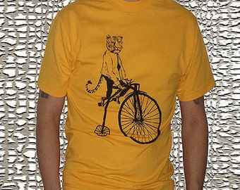 Men's Tiger on a Bike T Shirt - American Apparel Tshirt - S M L Xl and Xxl (16 Color Options)