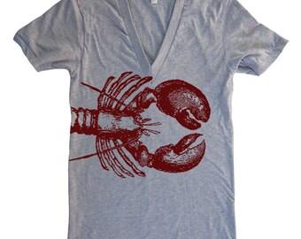 LOBSTER Deep V Neck T Shirt - American Apparel Vneck Tshirt - XS S M L  XL (15 Color Options)