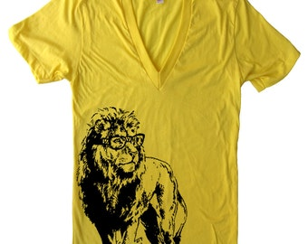 Lion Professor Deep V Neck T Shirt - American Apparel Vneck Tshirt - XS S M L (15 Color Options)
