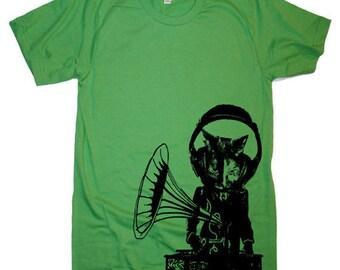 Mens Music Cat T Shirt - American Apparel Tshirt - XS S M L Xl and Xxl (28 Color Options)