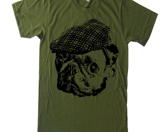 Mens Pug Hooligan T Shirt - American Apparel Tshirt - XS S M L Xl and Xxl (28 Color Options)