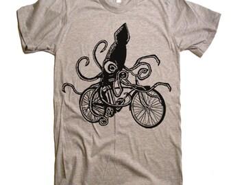 Squid on a Bike T Shirt - American Apparel Tshirt - S M L Xl 2X (15 Color Options)