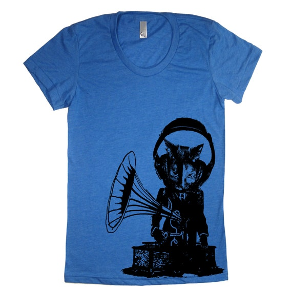 Womens Phonograph Music Cat T Shirt - American Apparel Tshirt - S M L XL (20 Color Options)