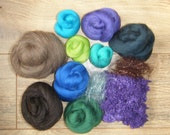 250g Peacock ROVING WOOL TOPS Felting - Shades Colours Pack Spinning Felt - Dyed Merino 70's - Natural - Purple Nepps - Angelina 8.8 Ounces