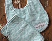 Baby Bib & Burp Cloth Set - Aqua Herringbone OR Navy Herringbone - Gender Neutral