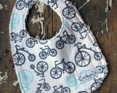 Boy Baby Bib - Bicycles in Grey & Aqua - Chenille Baby Bib - YOUR CHOICE of white or grey