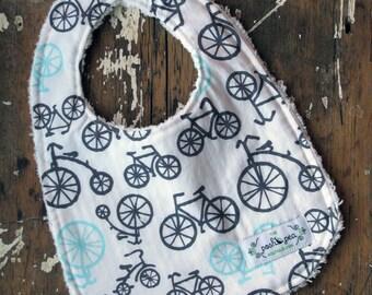 Boy Baby Bib - Bicycles in Grey & Aqua - Chenille Baby Bib - YOUR CHOICE of white or grey