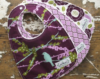 Baby Bibs for Baby Girl - Set of 3 - Plum & Lilac Bloom - Joel Dewberry
