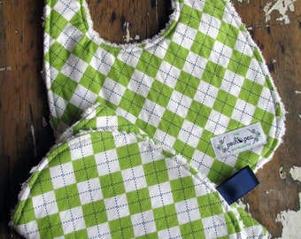 Chenille Baby Bib & Burp Set - Baby Boy - Green and Blue Argyle