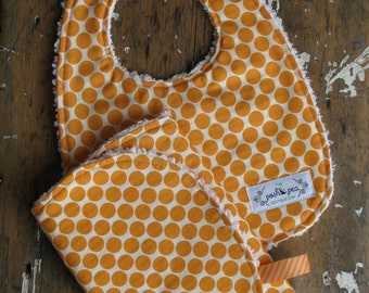 Baby Bib & Burp Cloth Set - Gender Neutral - Amy Butler Full Moon Tangerine Orange