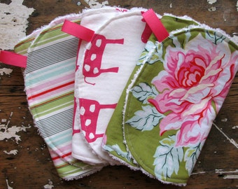 Baby Girl Burp Cloths - Hot Pink and Green - Set of 3 - Roses, Giraffes and Stripes