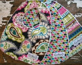 Girl Baby Bibs - Paisley, Geometric, Stripe - Roco Beat - Set of 3