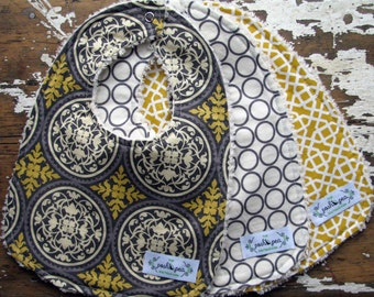 Gender Neutral Baby Bibs - Set of 3 - Grey/Gray and Gold/Yellow