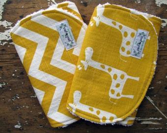 Baby Burp Cloths OR Baby Bibs - Yellow Chevron & Giraffes - Set of 2 - Gender Neutral