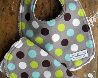 Chenille Baby Bib & Burp Set - Gender Neutral - Splendid Dot in Retro Grey, Aqua, Brown and Lime