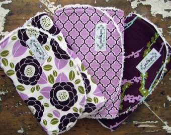 Baby Girl Burp Cloths - Aviary 2 Collection in Plum & Lilac  - Set of 3 - Lilac Bloom, Lattice, and Sparrows
