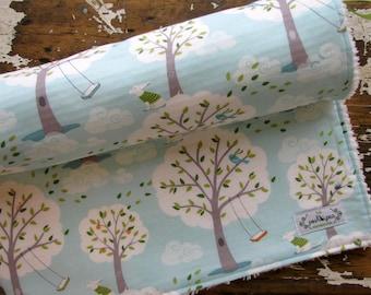 Baby Blanket - Backyard Baby Windy Day - Blue Baby Blanket - Trees - Girl or Boy - Chenille or Minky Back