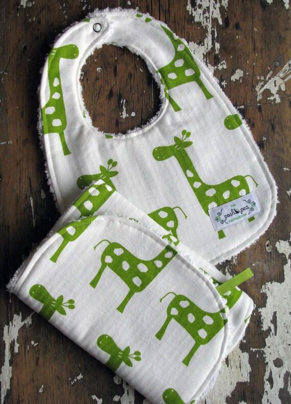 Chenille Baby Bib & Burp Set - Gender Neutral - Lime Green Giraffes