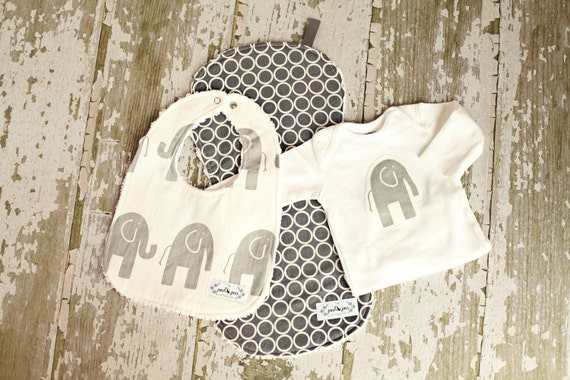 Baby Gift Set - Bib Burp & Bodysuit - Grey Elephant and Pewter Circles - Gender Neutral