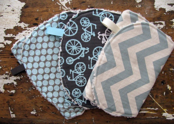 Baby Boy Burp Cloths - Set of 3 - Full Moon Slate, Bicycle Haze and Vintage Blue Chevron