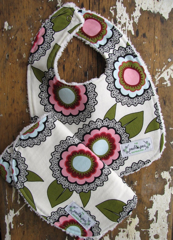 Baby girl bib amp burp cloth set morning flower pink and blue