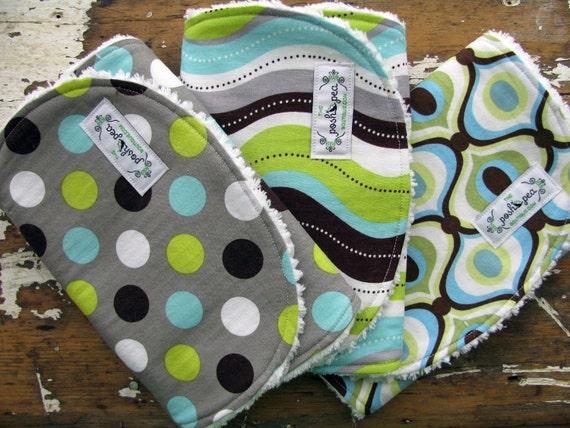Baby Boy Burp Cloths - Set of 3 - Retro/Modern in Aqua, Lime, Brown & Grey - Splendid Dot, Wave, and Feeling Groovy
