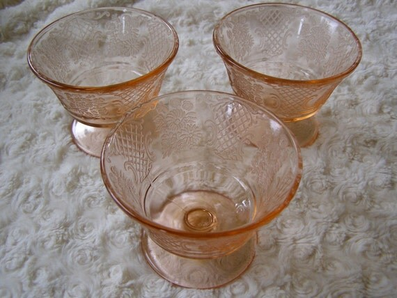 depression glass federal normandie one set of  3 x sherbet in mint condition