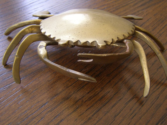 Vintage Brass Crab Sea Creature Trinket or Ash Tray