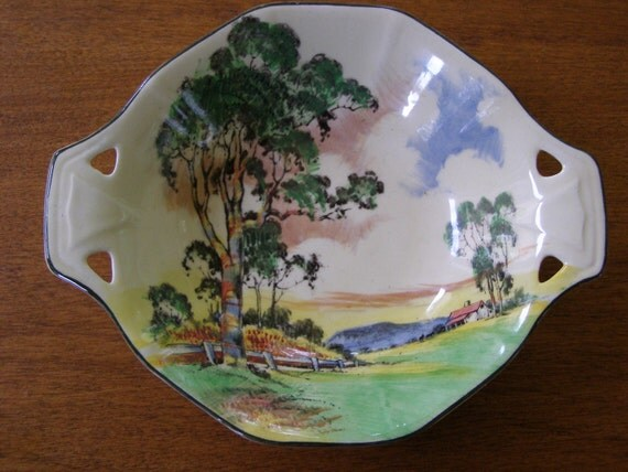 Vintage Royal Doulton England Handled Bowl Country House