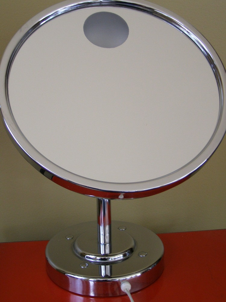 Lighted Vanity Mirror Chrome : Retro Conair Vanity chrome Lighted Magnifying mirror